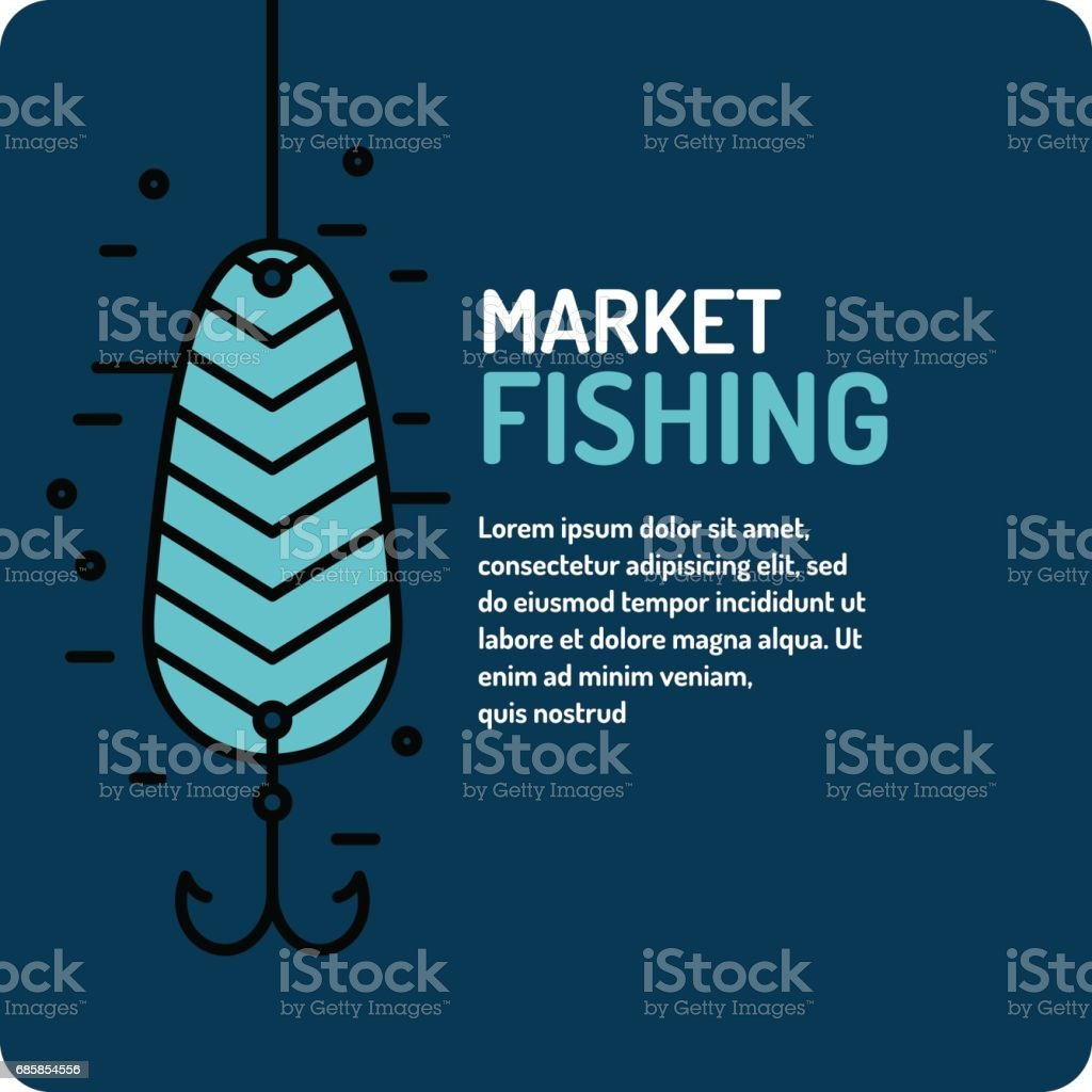 Modern vector illustration of the best fishing in linear style with spoon vector art illustration