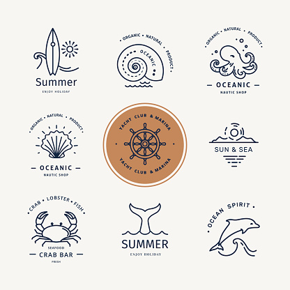 Modern vector illustration of undersea life logo. Flat icons with sea creatures and symbols