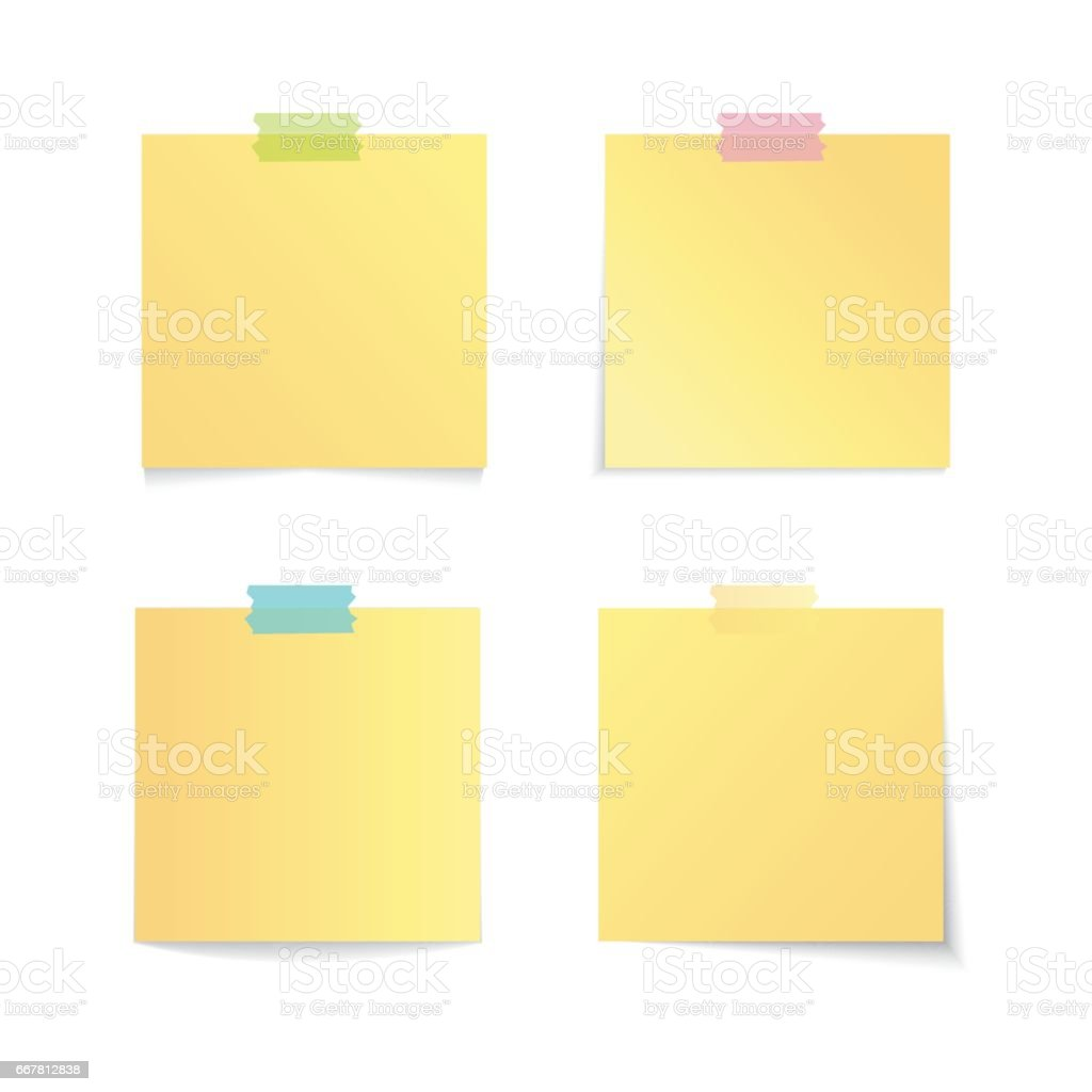 Modern vector illustration of yellow stick note set isolated on white background vector art illustration