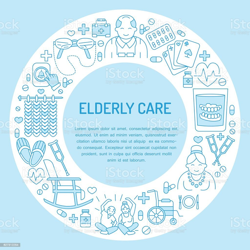 Modern vector line icon of senior and elderly care. Medical - Illustration vectorielle
