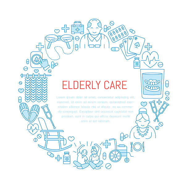 modern vector line icon of senior and elderly care. medical - nursing home stock illustrations