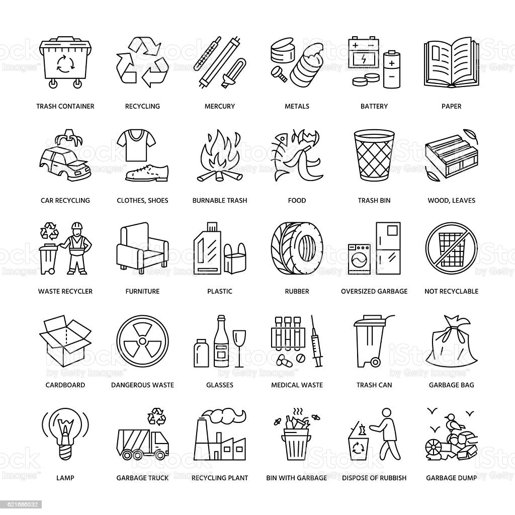 Modern vector line icon of waste sorting, recycling. Garbage collection vector art illustration