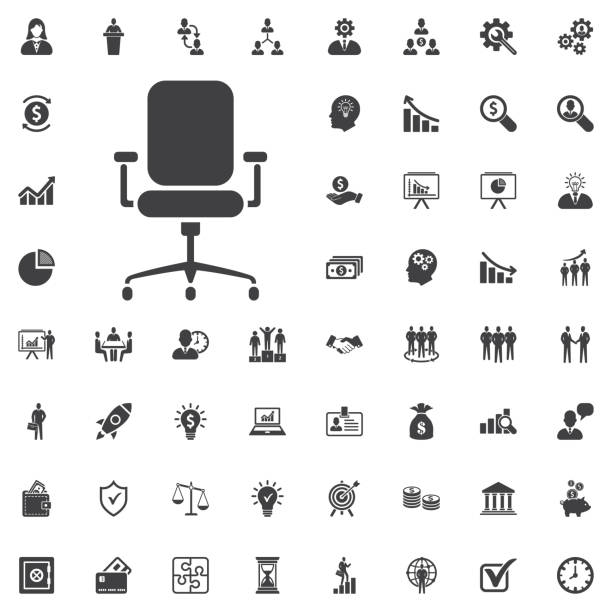 Modern vector office chair graphic Modern vector office chair graphic vector illustration on white background. Business set of icons office chair stock illustrations