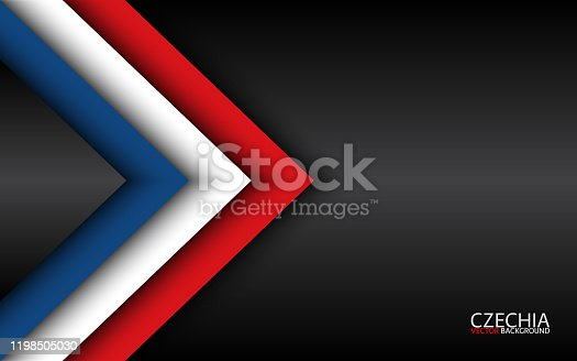 istock Modern vector overlayed arrows with Czech colors and grey free space for your text, overlayed sheets of paper in the look of the Czech flag, Made in Czech Republic, abstract widescreen background 1198505030