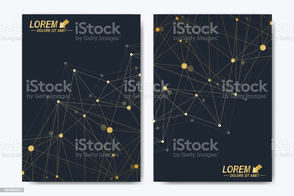Modern vector template for brochure, Leaflet, flyer, advert, cover, catalog, magazine or annual report. Business, science, medical design. Scientific cybernetic dots. Lines plexus. Card surface vector art illustration