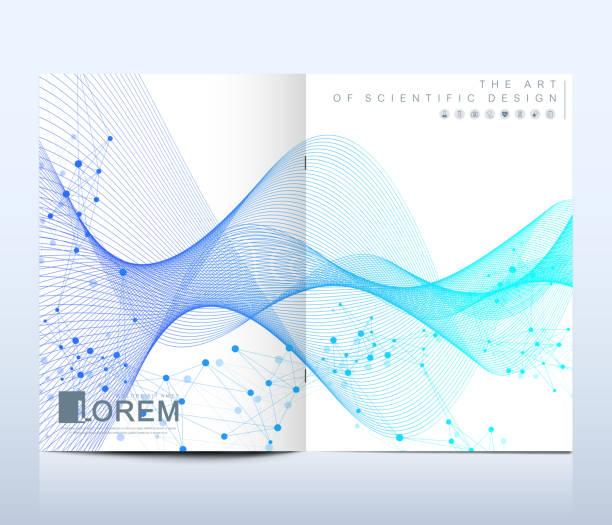 Moderne Vektor Vorlage für Broschüre, Broschüre, Flyer, Cover, Banner, Katalog, Magazin oder jährlichen Bericht im A4-Format. DNA-Helix, DNA-Strang, Molekül oder Atom, Neuronen. Wave-Fluss. Linien-plexus – Vektorgrafik