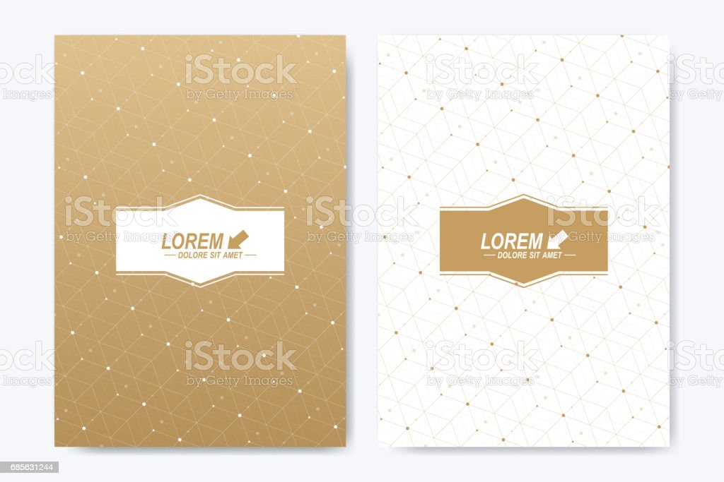Modern vector template for brochure, Leaflet, flyer, cover, booklet, magazine or annual report. A4 size. Abstract golden presentation book layout. Geometric pattern with connected lines and dots modern vector template for brochure leaflet flyer cover booklet magazine or annual report a4 size abstract golden presentation book layout geometric pattern with connected lines and dots - arte vetorial de stock e mais imagens de anual royalty-free