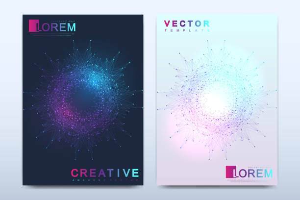 modern vector template for brochure, leaflet, flyer, cover, catalog, magazine or annual report in a4 size. business, science and technology design book layout. presentation with mandala. card surface - dna stock illustrations, clip art, cartoons, & icons