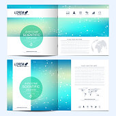 Modern vector template for square brochure, leaflet, flyer, cover, catalog, magazine, annual report. Business, science and technology design book layout. Graphic background molecule and communication