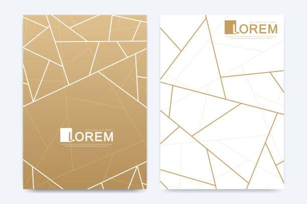 Moderne Vektorvorlagen Hochzeitseinladungskarten mit Marmortextur und goldenen geometrischen Linien in der A4-Größe – Vektorgrafik