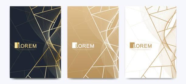 Moderne Vektor-Vorlage Hochzeit Einladungskarten mit Marmor Textur Hintergrund und goldenen geometrischen Linien in der A4-Größe – Vektorgrafik