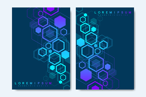 Modern vector templates for brochure, cover, banner, flyer, annual report, leaflet. Abstract art composition with hexagons, connecting lines and dots. Digital technology or medical concept.