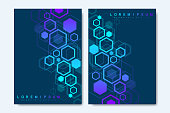 Modern vector templates for brochure, cover, banner, flyer, annual report, leaflet. Abstract art composition with hexagons, connecting lines and dots. Digital technology or medical concept