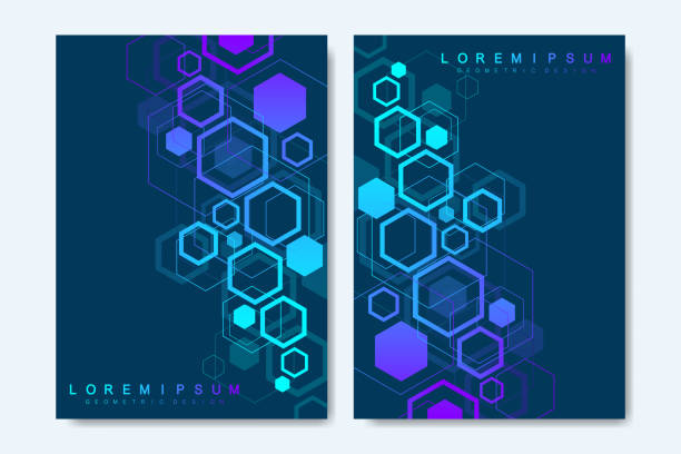 Modern vector templates for brochure, cover, banner, flyer, annual report, leaflet. Abstract art composition with hexagons, connecting lines and dots. Digital technology or medical concept. Modern vector templates for brochure, cover, banner, flyer, annual report, leaflet. Abstract art composition with hexagons, connecting lines and dots. Digital technology or medical concept hexagon stock illustrations
