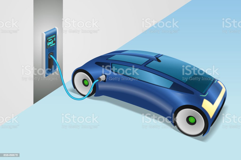 modern vehicle charging power from wall box charging station. vector art illustration