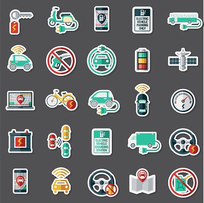 Modern Vehicle Technology Sticker Set