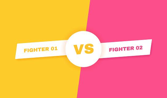 Modern versus battle background. Vs battle headline. Competitions between contestants, fighters or teams. Vector illustration