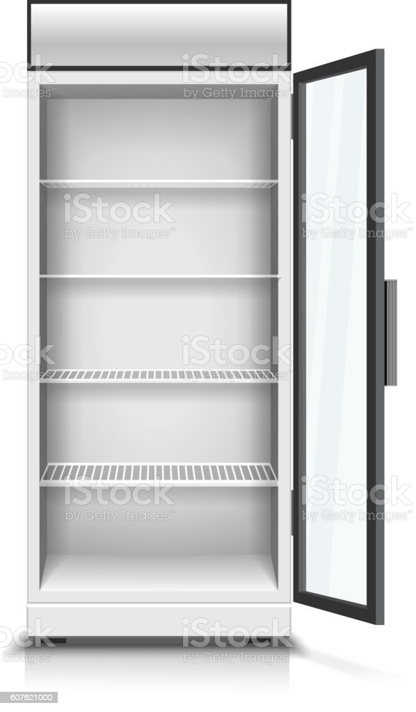 Modern vertical refrigerator with open transparent front panel isolated vector art illustration