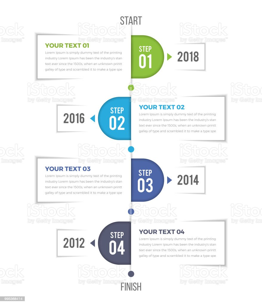 Modern Vertical Timeline Infographics - illustrazione arte vettoriale