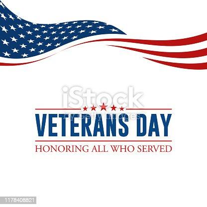 istock Modern Veterans Day Celebration Background Header Banner 1178408821