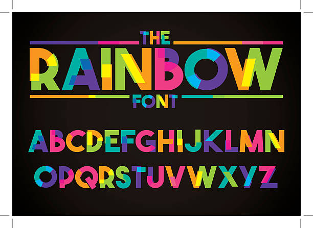 modern vibrant typography - multi colored stock illustrations, clip art, cartoons, & icons