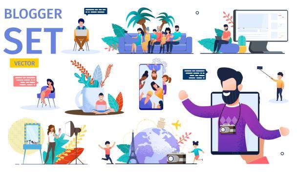 illustrazioni stock, clip art, cartoni animati e icone di tendenza di modern video blogger flat vector characters set - video call