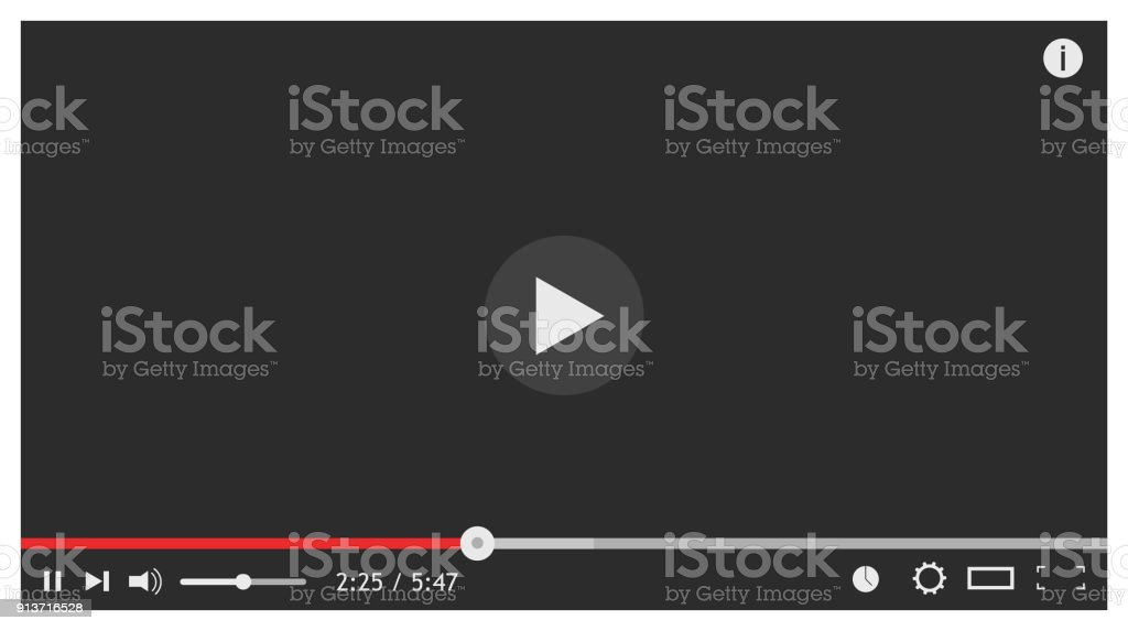 Modern video player design template for web. Vector illustration vector art illustration