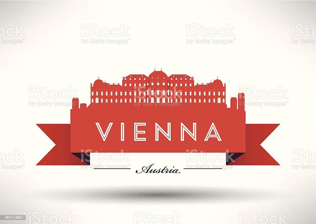 Modern Vienna City Skyline Design vector art illustration