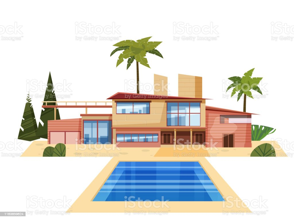 Villa Moderne Sur La Résidence Palmiers Manoir Coûteux