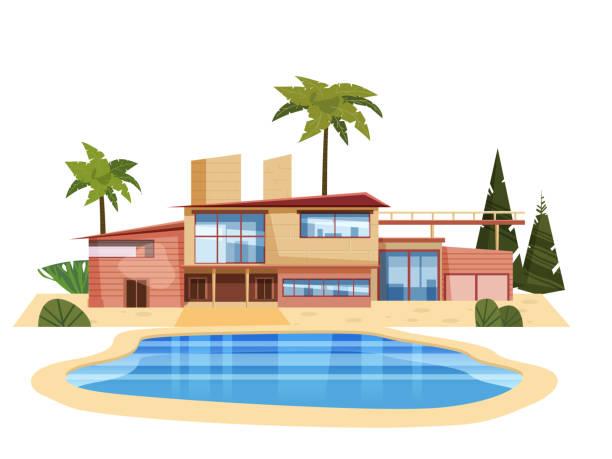Modern villa on residence, expensive mansion palm trees. Luxury cottage house exterior blue swimming pool. Cartoon vector illustration Modern villa on residence in exotic country, expensive mansion villa stock illustrations