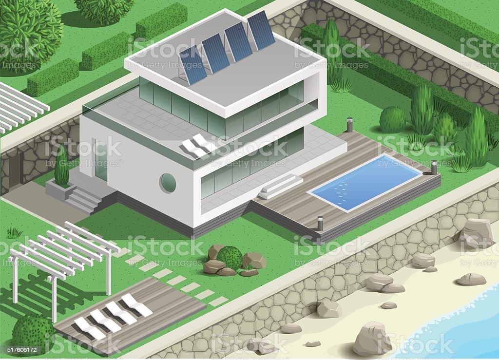 Modern villa on the coast vector art illustration