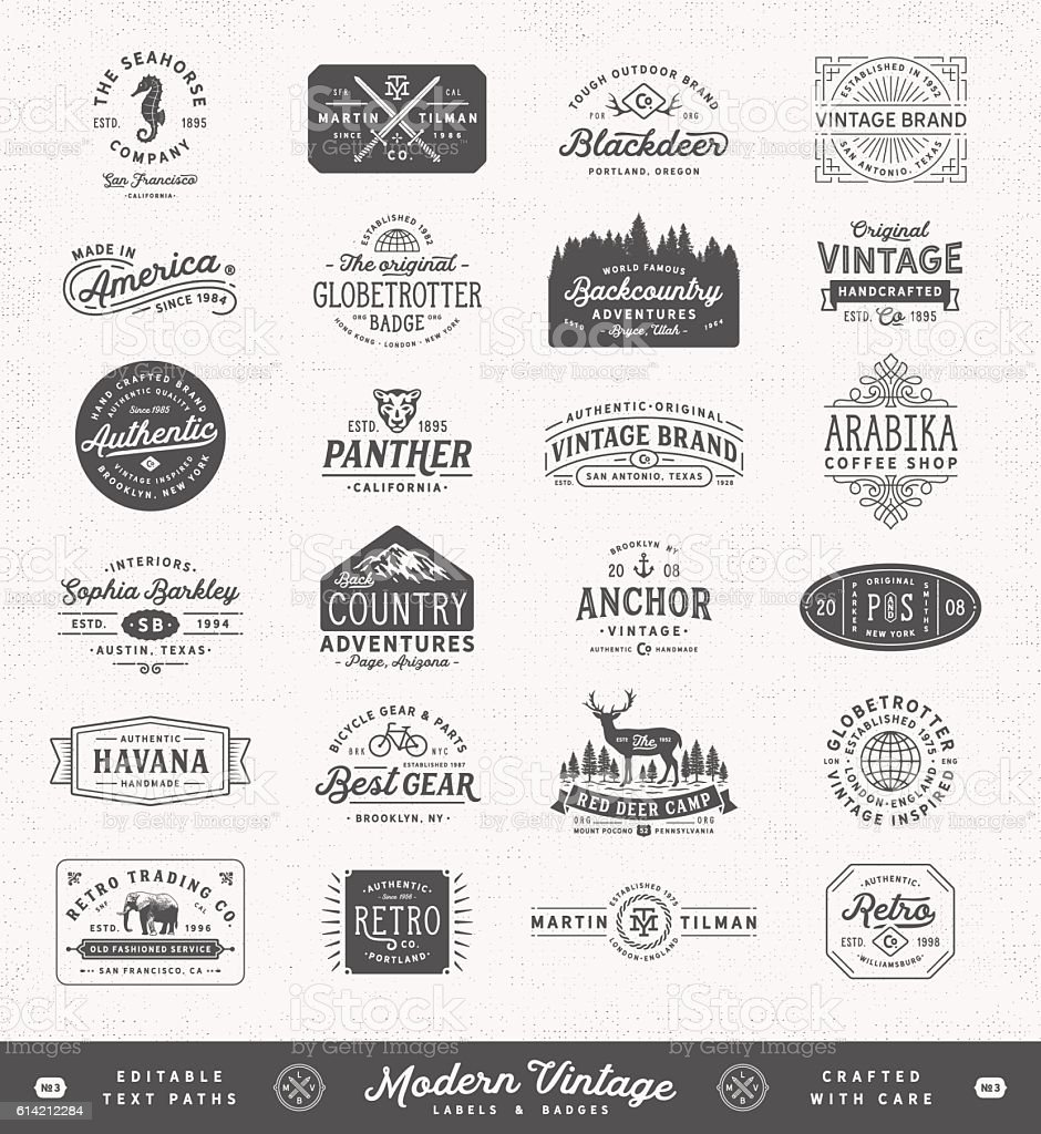 Modern Vintage Labels,Badges and Signs royalty-free stock vector art