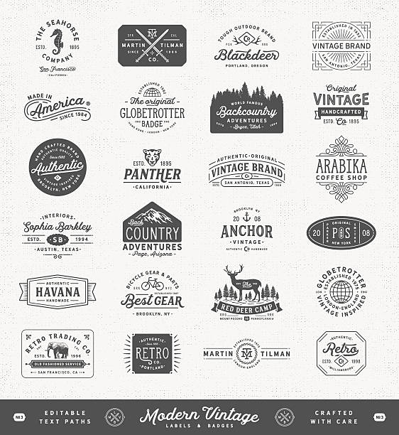 Modern Vintage Labels,Badges and Signs vector art illustration