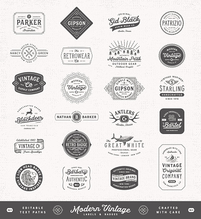 Collection of signs, badges, labels, frames and banners with text. More works like this linked below.