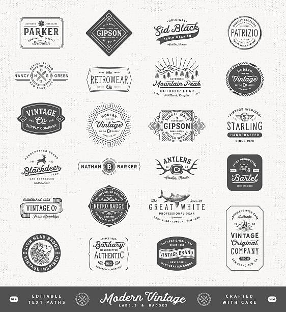 nowoczesne etykiety vintage, odznaki i znaki - przypinka stock illustrations