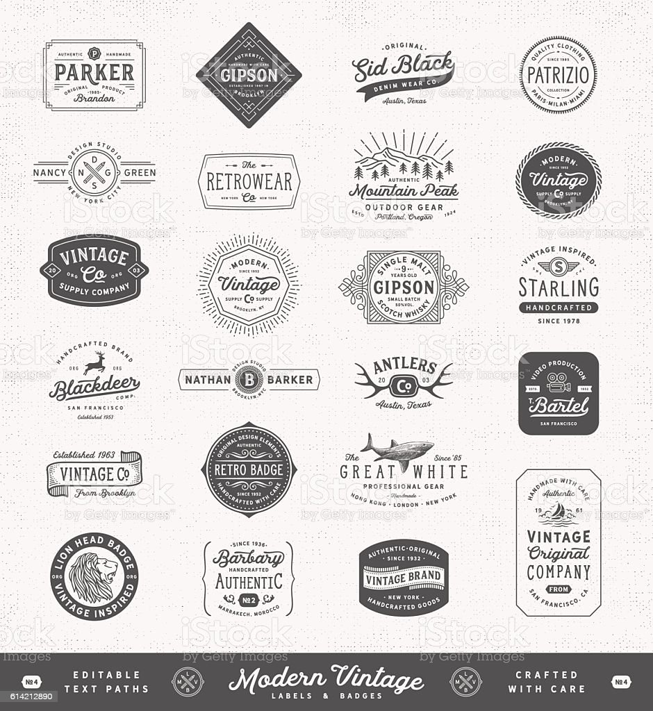 Modern Vintage Labels,Badges and Signs - ilustración de arte vectorial