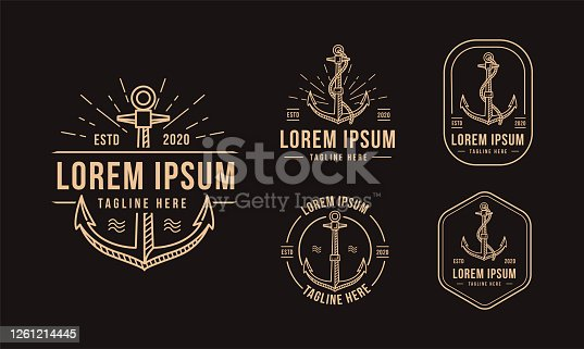 Modern vintage retro lineart anchor icon vector illustration template set