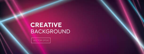 bildbanksillustrationer, clip art samt tecknat material och ikoner med moderna levande färgstarka laserstrålar på abstrakt mörk lila rosa banner bakgrund - disco lights
