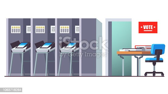 Voting station with reception desk and modern automated secure electronic voting machine booths. Flat style vector illustration isolated on white background
