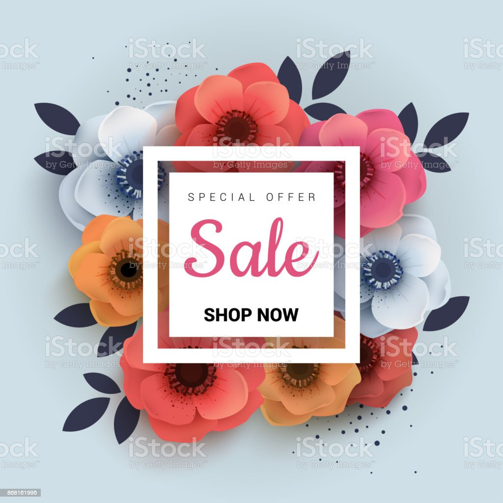 Modern Wanner With Red Paper Flowers For Spring Sales Stock Vector