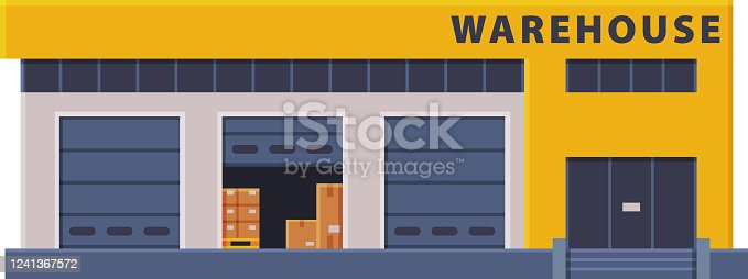 istock Modern Warehouse Building, Industrial Construction Flat Style Vector Illustration on White Background 1241367572