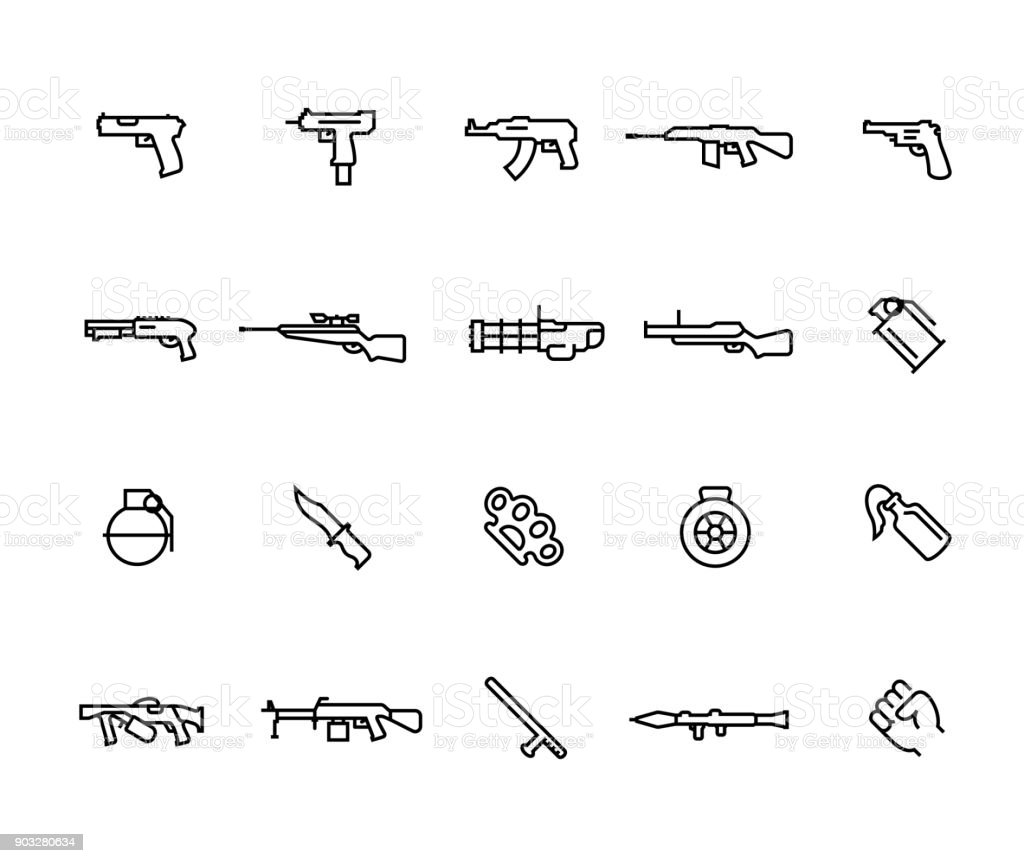 Armas modernas vector ícone definido no estilo de linha fina com traço editável - ilustração de arte em vetor