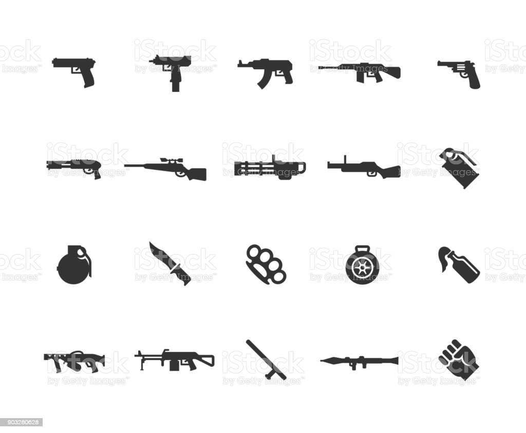 Modern weapons vector icon set vector art illustration