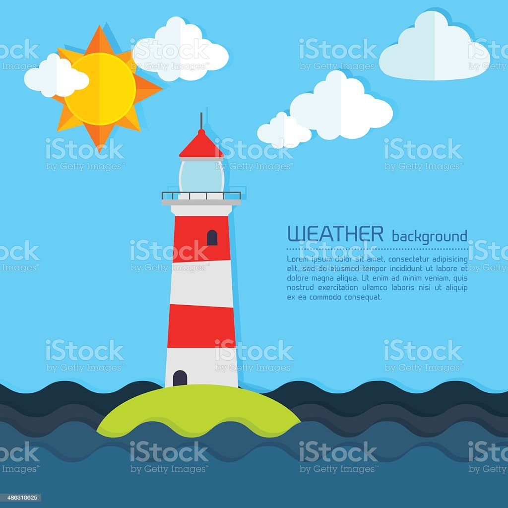 Modern weather background with lighthouse, sun and clouds royalty-free stock vector art