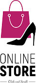Modern web banner Online Store with fashionable handbag and footwear. Concept online shopping. Vector illustration