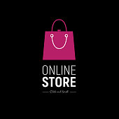 Modern web banner Online Store with fashionable handbag. Concept online shopping. Vector illustration