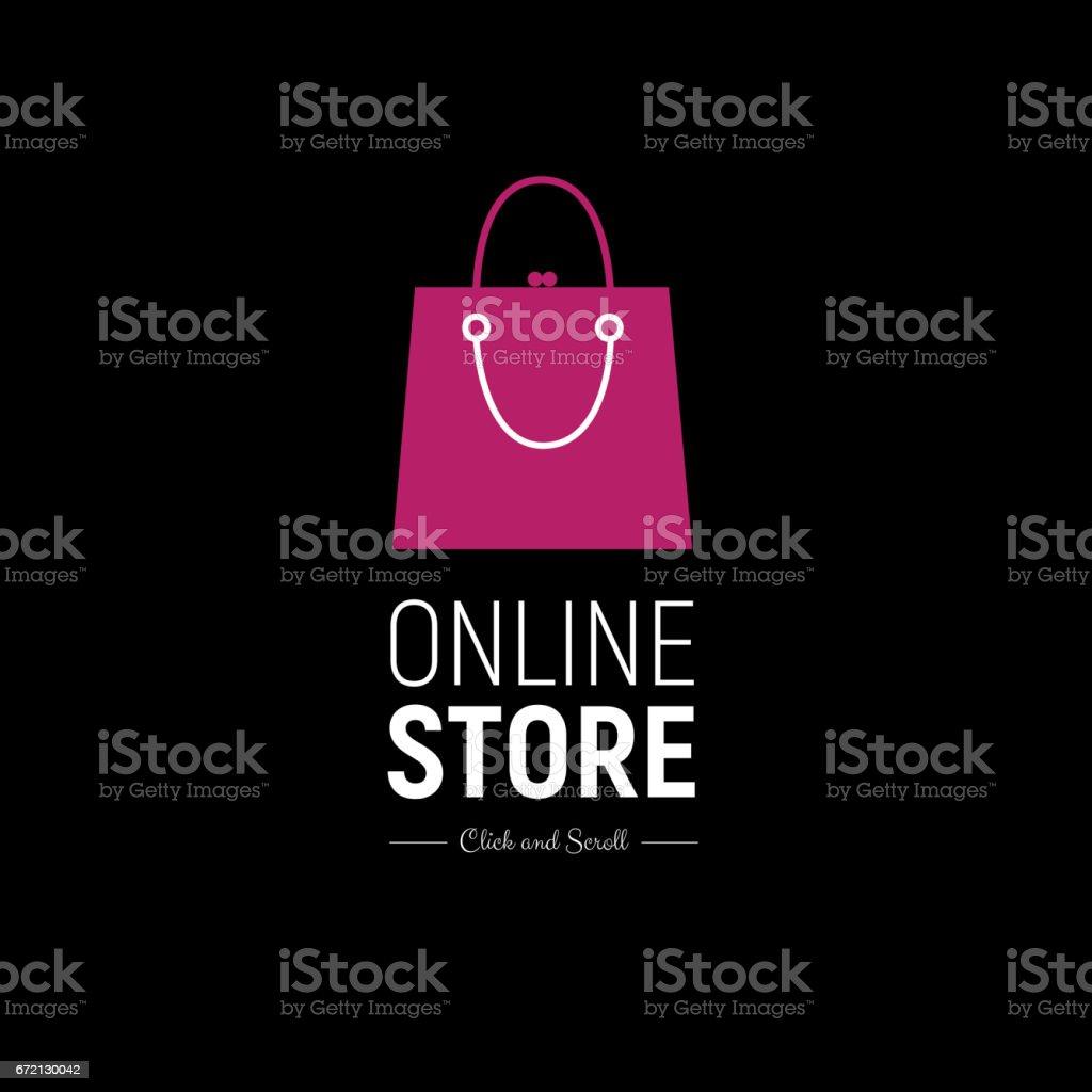近代的な web バナー ファッショナブルなハンドバッグをオンライン ストア。概念のオンライン ショッピング ベクターアートイラスト