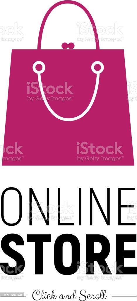 Modern web banner Online Store with fashionable handbag. Concept online shopping vector art illustration