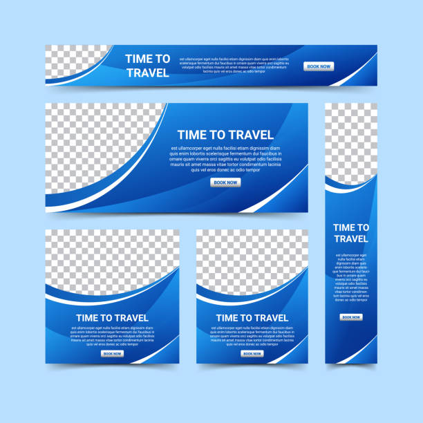 modern web banners design template set, vector illustration - blue drawings stock illustrations