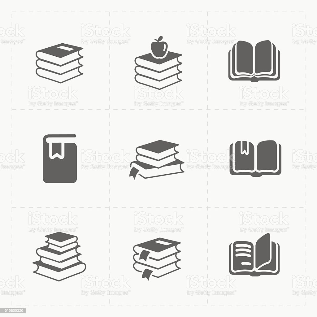 Modern Web Books set on White. vector art illustration